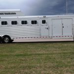 7 Horse Gooseneck Slant Load with Double Side Tack Doors (Closed) and Fold Up Step and Enclosed Hay Pod with Aerodyne Nose
