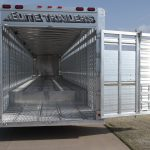 Ground Load Semi Stock Trailer - Full Width Rear Gate with Roll Up Gate and Single Pipe Hardware (Open) Rear Drop Corrugated Tread Plate Split Ramp Removed