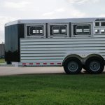 7' Wide Bumper Pull Stock Trailer - Drop Down Feed Doors with Windows with Latch Placed at Bottom, Standard Escape Gate Removed