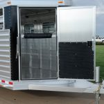 7' Wide Bumper Pull Stock Trailer - Standard Dressing Room Door (Open) with Window Removed and Added Pressure Latch
