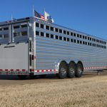 12 Horse Gooseneck Polo Horse Trailer - Triple Axle, Double Rear Gates with Drop Rods, Exterior Tie Hooks, and Rear Ramp.
