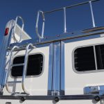 6 Horse Gooseneck Slant Load - (Exterior) Standard Double Rear Doors (56/44) with Rear Ladder to Integrated Hayrack with Cleats on Added Full Width Spring Loaded Rear Ramp with Polished Rear Header and Door Frames