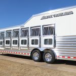 6 Horse Gooseneck Slant Load - (Exterior) Streetside with Drop Down Doors with Windows (Down) and Drop Down Feed Bars