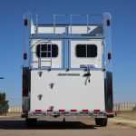 6 Horse Gooseneck Slant Load - Standard Double Rear Doors with Windows and Locking Seal Plate Latches (56/44), Integrated Hayrack with Rear Ladder and Cleats on Added Full Width Spring Loaded Rear Ramp