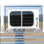 6 Horse Gooseneck Slant Load - Polished Slats and Door Frame/Flush Mounts on Drop Down Doors with Windows and Welded Bars