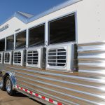 6 Horse Gooseneck Slant Load - (Exterior) Curbside Drop Down Doors with Windows and Welded Bars