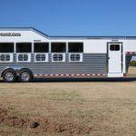 6 Horse Gooseneck Slant Load - (Exterior) Curbside - Drop Down Doors (Down)