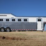 6 Horse Gooseneck Slant Load - (Exterior) Curbside - Drop Down Doors (Up)