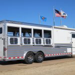 4 Horse Mustang Living Quarters - Standard Drop Down Doors with Window and Welded Bars