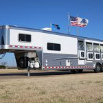 4 Horse Mustang Living Quarters - Standard Drop Down Doors with Window and Production Style Drop Down Windows