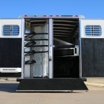 4 Horse Mustang Living Quarters - Standard Double Rear Doors (56/44), Added Full Width Spring Loaded Rear Ramp down, and Collapsible Rear Tack Wall with Removable Center Post and Removable Saddle Rack Post
