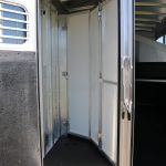 4 Horse Mustang (White Skin) - Collapsible Rear Tack Wall with Removable Center Post and Removable Saddle Rack Post