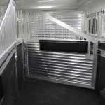 7 Horse Gooseneck Slant Load - (Interior) Flow Thru Head Shield and Drop Down Doors with Windows and Drop Down Feed Bars