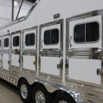 7 Horse Gooseneck Slant Load - Drop Down Doors with Windows and Latch Placed at Bottom with Manger Access Doors