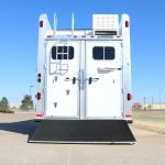 3 Horse Gooseneck Slant Load (Living Quarters and Slide Out) - Standard Double Rear Doors with Windows with Locking Seal Plate Latches (56/44) and Full Width Spring Loaded Rear Ramp Behind Doors (Down)
