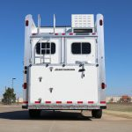 3 Horse Gooseneck Slant Load (Living Quarters and Slide Out) - Standard Double Rear Doors with Windows with Locking Seal Plate Latches (56/44) and Full Width Spring Loaded Rear Ramp Behind Doors