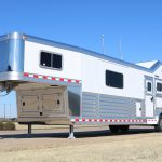 3 Horse Gooseneck Slant Load (Living Quarters and Slide Out) - Enclosed Under Nose with Full Width Lift Up Door with Gas Shocks with Two Access Doors in Lift Up Door