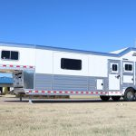 3 Horse Gooseneck Slant Load (Living Quarters and Slide Out) - Added Access Door near Escape Door with Drop Down Door and Window