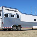 3 Horse Gooseneck Slant Load (Living Quarters and Slide Out) - Added Drop Down Doors with Window, Replaces Standard Windows with Welded Bars