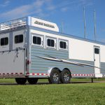 3 Horse Mustang Living Quarters - Added Full Width Spring Loaded Rear Ramp