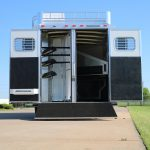 3 Horse Mustang Living Quarters - Standard Double Rear Doors (56/44) with Full Width Spring Loaded Rear Ramp down, Collapsible Rear Tack Wall