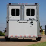 2 Horse Gooseneck Strait Load - Double Rear Doors (50/50) with Windows and Double Pipe Hardware (No Overlap) and Full Width Spring Loaded Rear Ramp