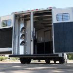 3 Horse Mustang with 10 foot 8 inch Living Quarters - Standard Double Rear Doors (56/44) with Collapsible Rear Tack