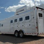 4 Horse Gooseneck Slant Load with Living Quarters - Standard Double Rear Doors (56/44) with Single Pipe Hardware, Enclosed Hayrack with Generator and Generator Platform and Streetside Ladder