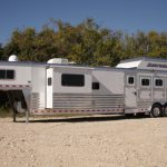 4 Horse Gooseneck Slant Load with Living Quarters - Streetside Rear Tack, Slide Out and Enclosed Hay Rack with Aerodyne Nose
