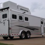 3 Horse Gooseneck Slant Load with Living Quarters - Added Full Width Spring Loaded Rear Ramp, Enclosed Hay Pod with Aerodyne Nose, Generator Box on Generator Platform with RV Style Living Quarters Door and Fold Up Step, and Standard Double Rear Doors (56/44) with Windows