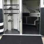 Standard Double Rear Doors (56/44), Added Full Width Spring Loaded Rear Ramp (Down), Collapsible Rear Track, Swing Out Blanket Bars and Removable Saddle Rack Post