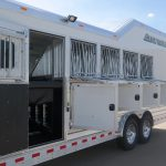 5 Horse Gooseneck Slant Load - Integrated Hay Pod, Escape Door with Drop Down Door and Drop Down Feed Bars, Drop Down Doors with Drop Down Feed Bars, Manger Access Doors and Streetside Halogen Load Light