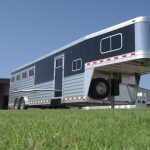 4 Horse Gooseneck Slant Load with Living Quarters - Curbside Drop Down Doors with Welded Bars, Fold Up Step, Black Skin, Single Leg Hydraulic Jack, Spare Tire and Double Battery Box
