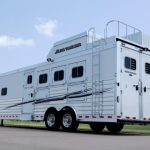 4 Horse Gooseneck Slant Load with Living Quarters - Standard Double Rear Doors (56/44) with Windows, Enclosed Hay Pod with Aerodyne Nose, Generator Box on Generator Platform with Streetside Ladder Access, Clear Lens Rear High Turn Signals and Clear Lens Rear Tail Lights