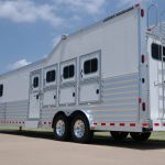 4 Horse Gooseneck Slant Load with Living Quarters - Standard Double Rear Doors (56/44) with Windows, Integrated Hay Pod with Generator Box and Rear Access Ladder, Slide Out, Drop Down Doors and Manger Access Doors