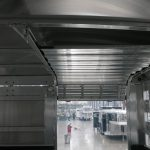 Straight Floor Semi Stock Trailer - (Interior) Standard 36 inch Roll Up Gate with Reinforced Lower Roll Up Gate Panels