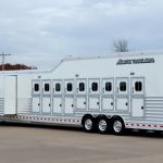 9 Horse Gooseneck Slant Load with Living Quarters - Double Rear Doors (56/44), Added Full Width Spring Loaded Rear Ramp, Integrated Hay Pod with Vented Generator Box on Generator Platform with Rear Access Ladder and Living Quarters Slide Out