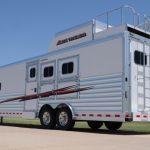 3 Horse Gooseneck Slant Load with Living Quarters - Standard Double Rear Doors with Windows (56/44), Enclosed Hay Pod with Aerodyne Nose, Vented Generator Box with Generator Platform and Rear Access Ladder