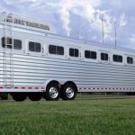 8 Horse Gooseneck Slant Load - Front Dress, Mid-Tack, Hay Rack with Aerodyne Nose and Curbside Access Ladder, Added Full Length Spring Loaded Rear Ramp, Double Rear Doors with Windows (40/60) and Double Pipe Hardware (Overlapping Doors)