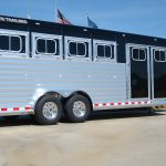 4 Horse Gooseneck Slant Load - Painted Top and Bottom Rail, Painted Rear Posts and Header, Clear Lens LED Lights, and Mid-Tack with front Dress Room