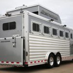 6 Horse Gooseneck Slant Load - Grey Skin, Added Full Width Spring Loaded Rear Ramp, Large Rear Door with Single Pipe Hardware, Enclosed Hay Pod and Rear Recessed Access Ladder