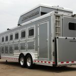 6 Horse Gooseneck Slant Load - Grey Skin, Added Full Width Spring Loaded Rear Ramp, Large Rear Door with Single Pipe Hardware, Enclosed Hay Pod with Rear Recessed Access Ladder and Streetside Rear Tack